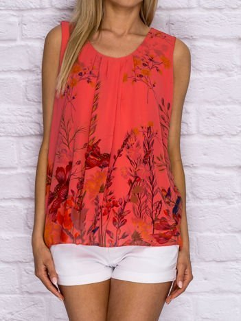 Koralowa bluzka koszulowa z motywem floral print