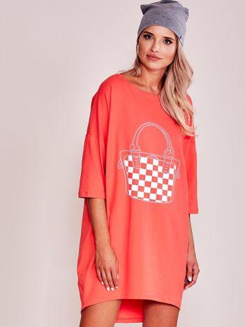 Koralowa luźna dresowa sukienka