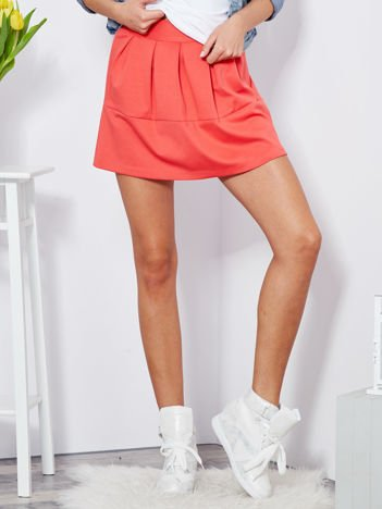 Koralowa plisowana spódnica mini