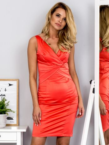 Koralowa sukienka V-neck