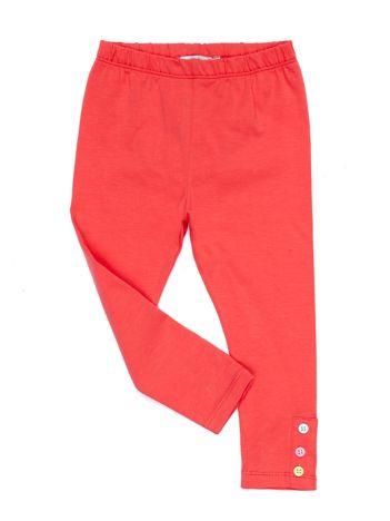 Koralowe legginsy dla dziewczynki z kolorowymi guzikami