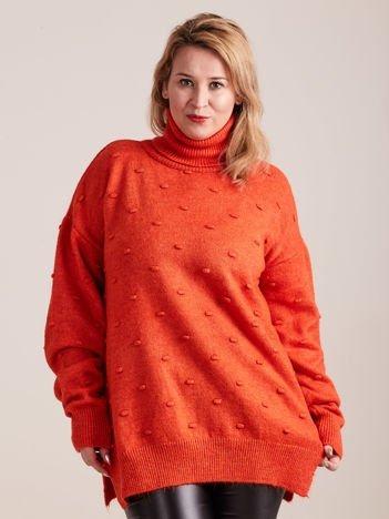 Koralowy sweter z golfem PLUS SIZE