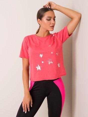 Koralowy t-shirt Star FOR FITNESS
