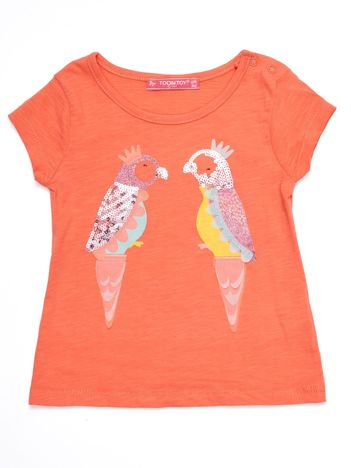 Koralowy t-shirt niemowlęcy z papużkami