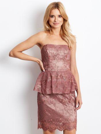 Koronkowa sukienka koktajlowa z baskinką bordowa