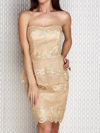 Koronkowa sukienka koktajlowa z baskinką złota