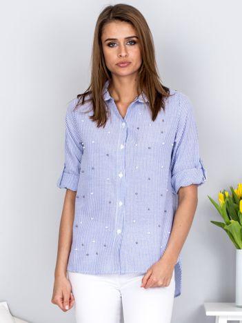 Koszula ciemnoniebieska w paski z perełkami
