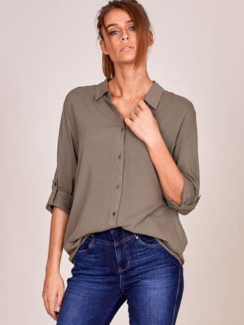 Koszula damska khaki o luźnym kroju