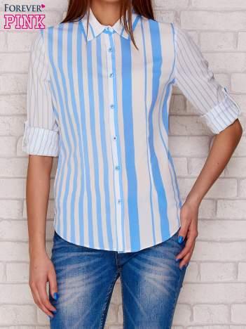 Koszula damska w pionowe paski niebieska