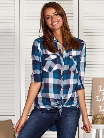 Koszula damska z motywem kratki i jodełki