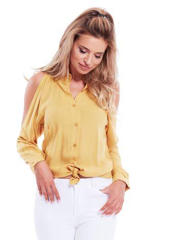 Koszula damska z rozcięciami żółta