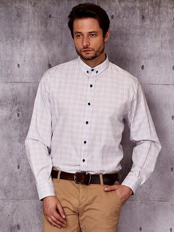 Koszula męska biała w delikatną kratkę PLUS SIZE