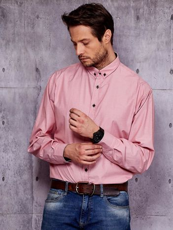 Koszula męska różowa w drobny wzór PLUS SIZE