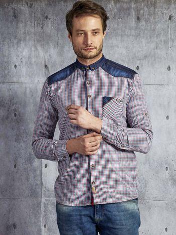 Koszula męska w drobną kolorową kratkę wielokolorowa PLUS SIZE