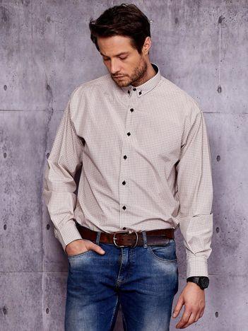 Koszula męska w drobną kratkę beżowa PLUS SIZE