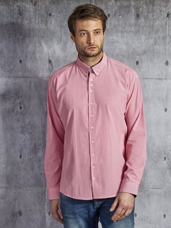 Koszula męska w drobną w kratkę z łatami na łokciach różowa