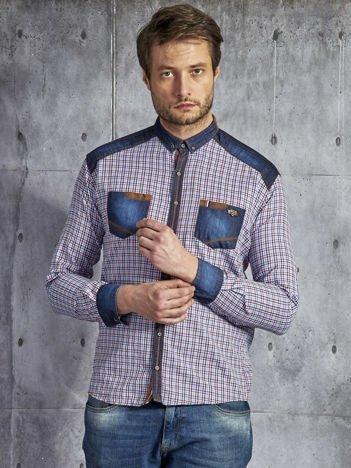 Koszula męska we wzór drobnej kratki czerwono-niebieska