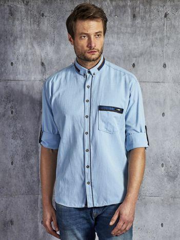 Koszula męska z kieszenią jasnoniebieska