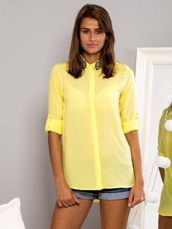 Koszula mgiełka z biżuteryjną aplikacją żółta