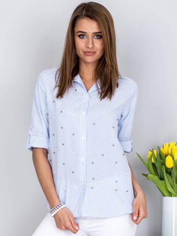 Koszula niebieska w paski z perełkami
