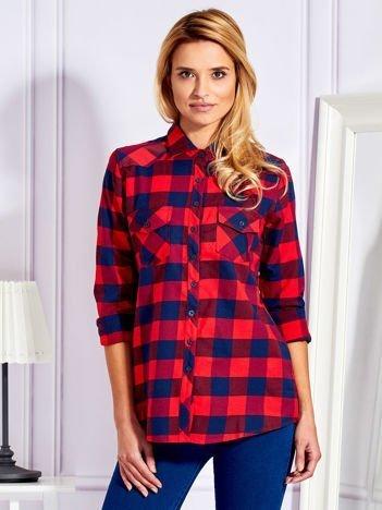 Koszula w kratę z kieszeniami czerwona