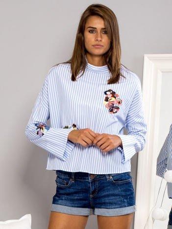 Koszula w paski z kwiatowymi haftami niebieska