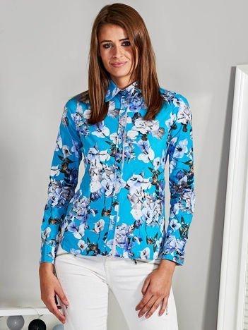 Koszula z nadrukiem floral turkusowa