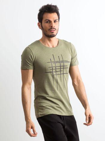 Koszulka męska z bawełny khaki
