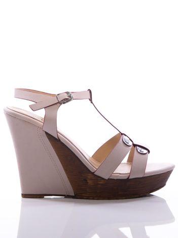 Kremowe sandały Sergio Leone na koturnach