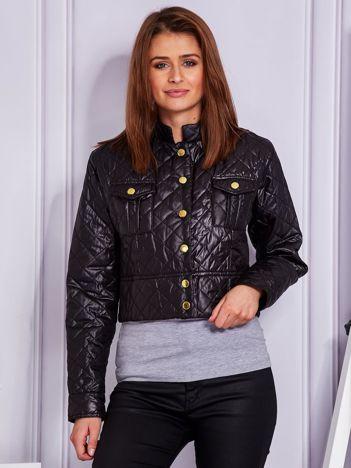 Krótka pikowana kurtka na guziki czarna