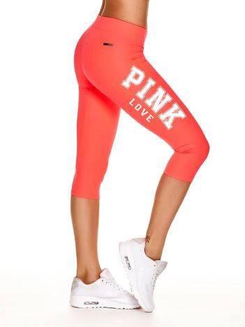 Krótkie legginsy do biegania z napisem PINK LOVE fluoróżowe