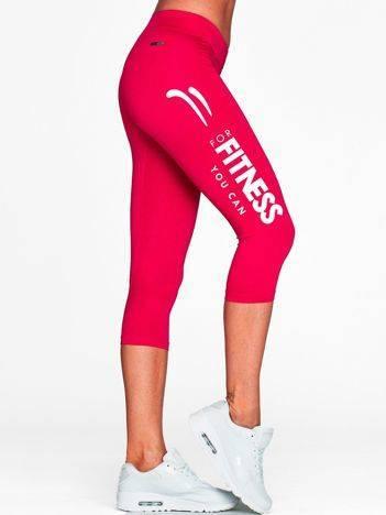 Krótkie legginsy fitness z jasnym nadrukiem fuksjowe