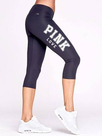 Krótkie legginsy fitness z napisem PINK LOVE grafitowe