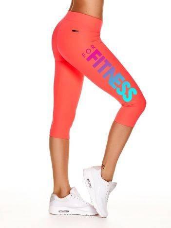 Krótkie legginsy sportowe z nadrukiem FOR FITNESS fluoróżowe
