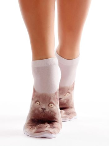 Krótkie skarpetki damskie z nadrukiem kota
