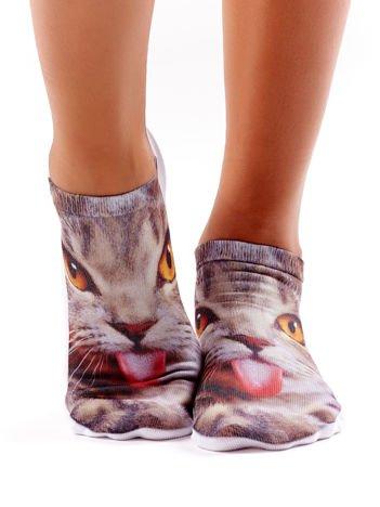 Krótkie skarpetki damskie z zdjęciem kota