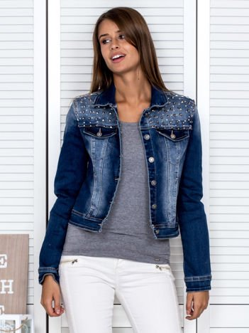 Kurtka damska jeansowa z ćwiekami niebieska