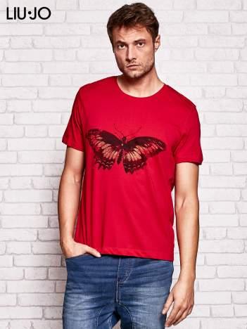 LIU JO Ciemnoczerwony t-shirt męski z motylem