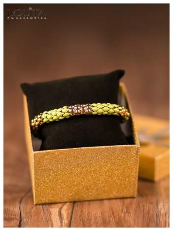 LOLITA Bransoletka WĘŻOWA dwukolorowa złoto-fluozielona