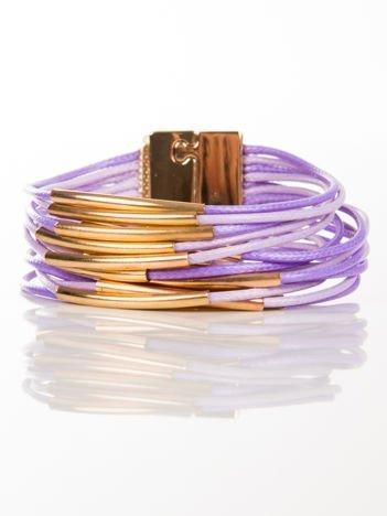 LOLITA Bransoletka liliowa ze sznureczków ze złotymi wstawkami zapinana na magnes