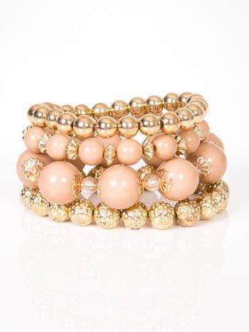LOLITA Bransoletka złota z pastelowymi perłami zestaw 4 szt.