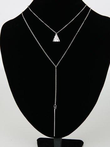 LOLITA Naszyjnik srebrny podwójny z przywieszką
