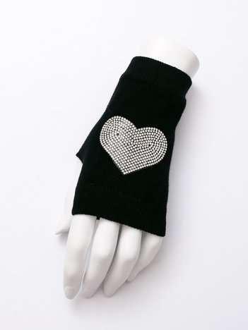 LOVE Czarne rękawiczki mitenki z aplikacją