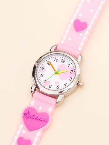 LOVE Dziecięcy Jasnoróżowy Zegarek Serduszka