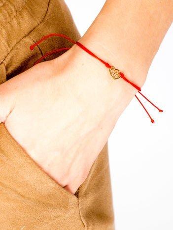 LUCKY LOVE Czerwona damska bransoletka AŻUROWE SERCE z najlepszej jakości STALI CHIRURGICZNEJ 316L