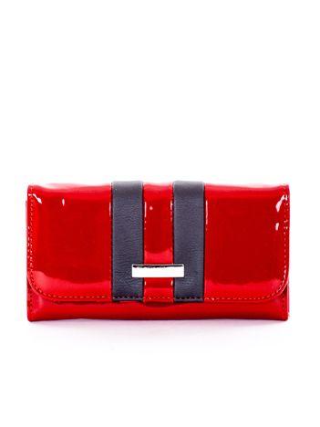 Lakierowany portfel z szarą wstawką bordowy
