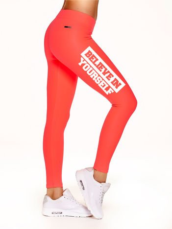 Legginsy sportowe BELIEVE IN YOURSELF fluokoralowe