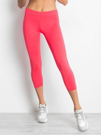 Lekko ocieplane legginsy fitness o długości 3/4 ciemnokoralowe
