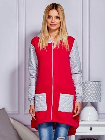 Lekko ocieplany płaszcz z pikowanymi wstawkami różowo-szary