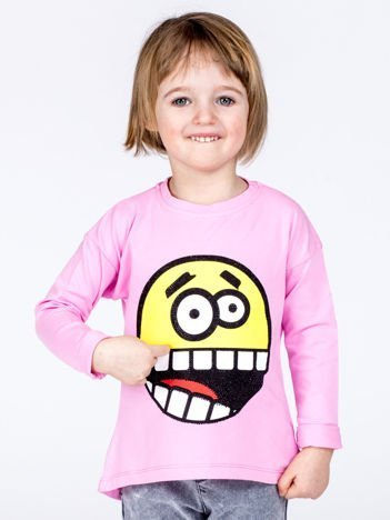 Liliowa bawełniana bluzka dziecięca z zabawną emotikonką